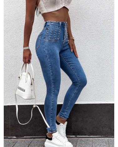 Spodnie jeansowe  wysoki stan z ćwiekami niebieskie