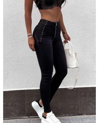 Spodnie z wysokim stanem z wiązaniem po bokach czarne