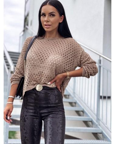 Sweterek z długim rękawem zdobiony beżowy