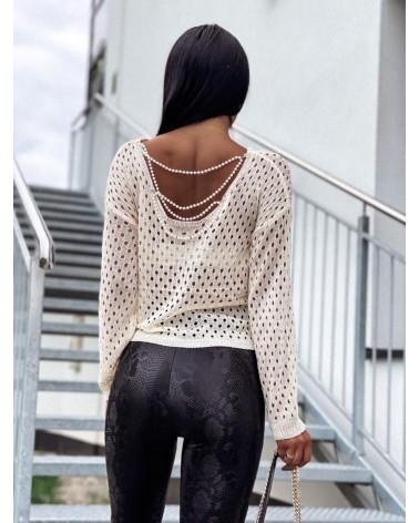 Sweterek z długim rękawem zdobiony kremowy Pearls