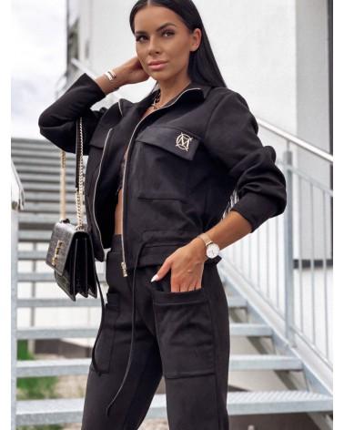 Komplet zamszowy bluza ze spodniami czarny Valkyria