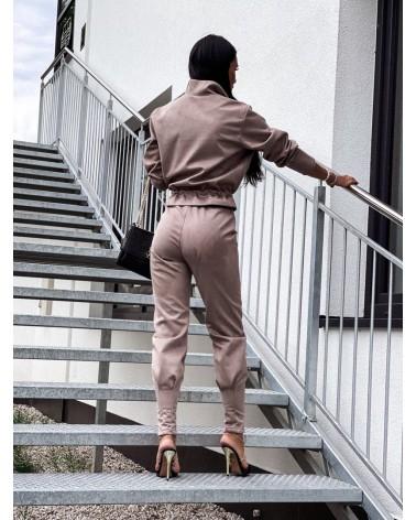 Komplet zamszowy bluza ze spodniami mocca