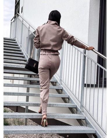 Komplet zamszowy bluza ze spodniami mocca Valkyria