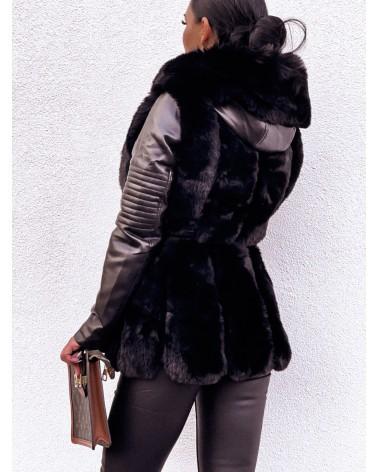 Ramoneska z futerkiem czarna