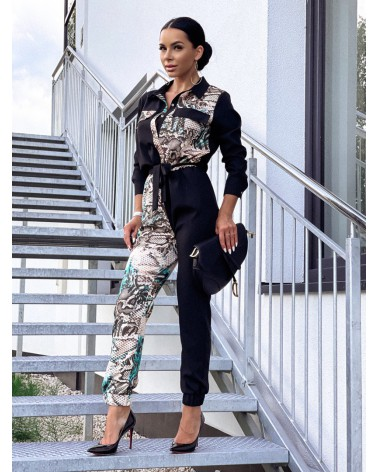 Elegancki kombinezon z długim rękawem czarno-turkusowy