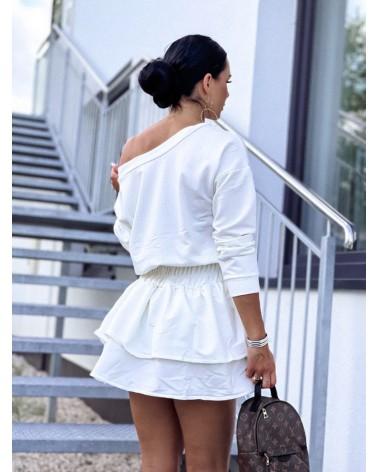 Sukienka z długim rękawem z falbankami ecru