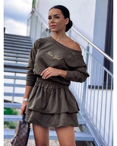 Sukienka z długim rękawem z falbankami khaki