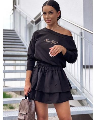 Sukienka z długim rękawem z falbankami czarna