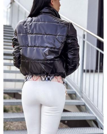Puchowa kurtka damska bez kaptura czarna