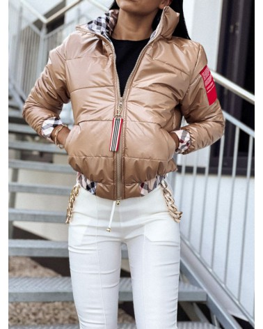 Puchowa kurtka damska bez kaptura beżowa