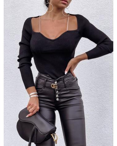 Elegancka bluzka w prążki czarna