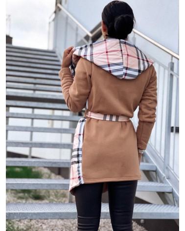 Klasyczny płaszcz damski w kratę z kapturem beżowy