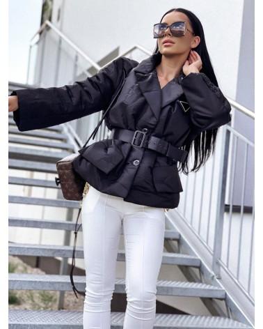 Damska kurtka puchowa z paskiem czarna