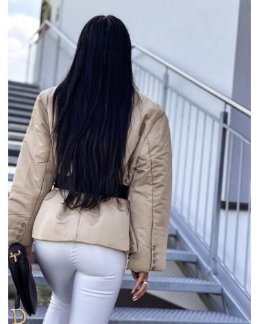 Damska kurtka puchowa z paskiem beżowa