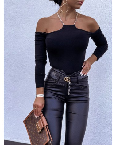 Bluzka z dekoltem halter czarna