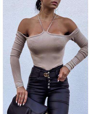 Bluzka z dekoltem halter beżowa