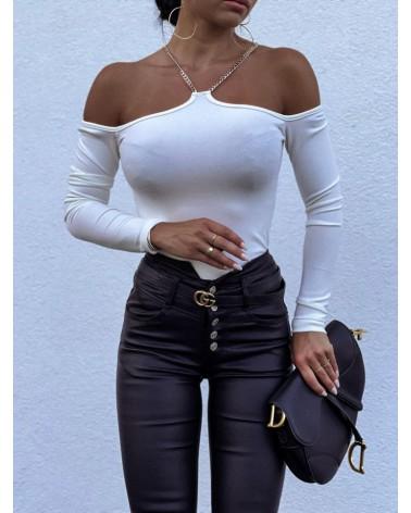 Bluzka z dekoltem halter biała
