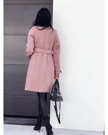 Długi płaszcz damski brudny róż