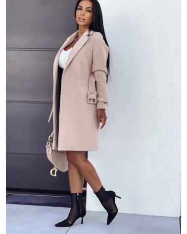 Długi płaszcz damski beżowy