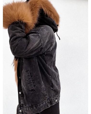 Dżinsowa kurtka z futerkiem czarna