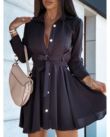Sukienka koszulowa z paskiem czarny