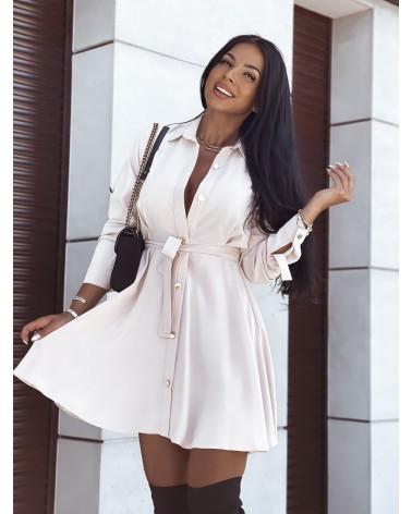 Sukienka koszulowa z paskiem beżowa