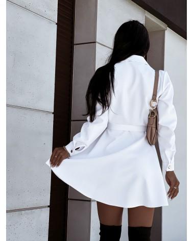 Sukienka koszulowa z paskiem biała
