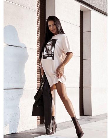 T-shirtowa sukienka z nadrukiem oversize beżowa