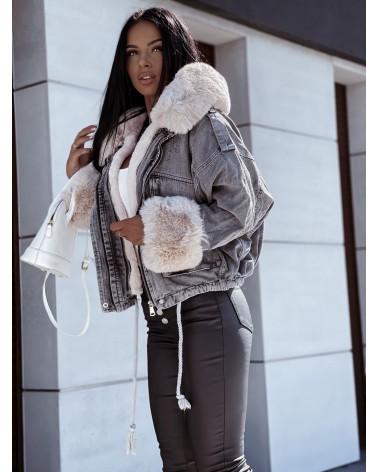 Szara kurtka jeansowa z futerkiem kremowym