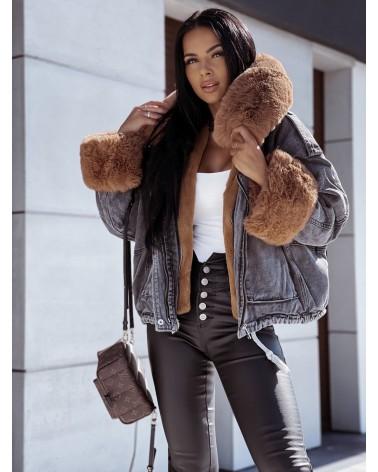 Szara kurtka jeansowa z futerkiem karmelowym