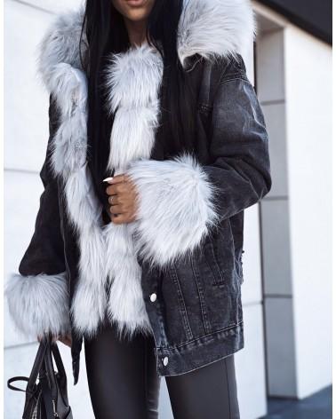 Dżinsowa kurtka z futerkiem szara
