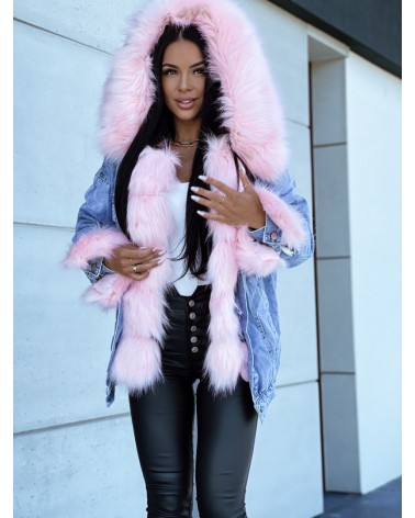 Dżinsowa kurtka z futerkiem pudrowa