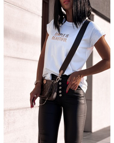 Damski T-shirt basic z napisem biały