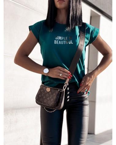 Damski T-shirt basic z napisem zielony