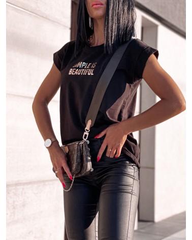 Damski T-shirt basic z napisem czarny