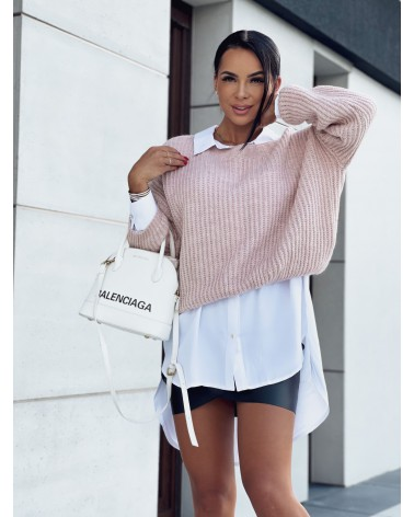 Krótki sweterek z długim rękawem pudrowy