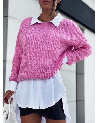 Krótki sweterek z długim rękawem różowy