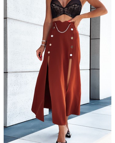 Spódnica maxi z dwoma rozcięciami po bokach ceglana