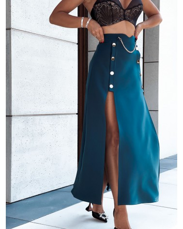 Spódnica maxi z dwoma rozcięciami po bokach morska zieleń
