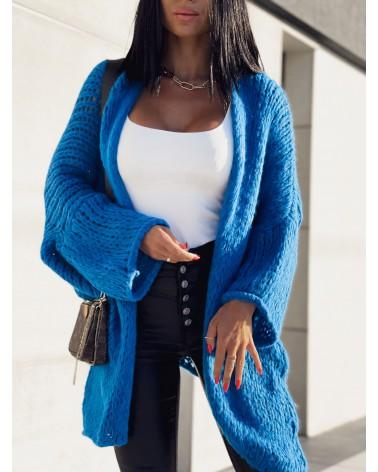 Sweterkowa narzutka oversize niebieska