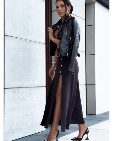 Spódnica maxi z dwoma rozcięciami po bokach czarna