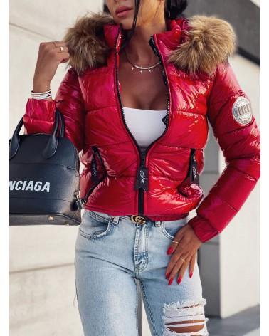 Błyszcząca kurtka puchowa z kapturem czerwona