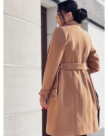 Długi płaszcz damski karmelowy