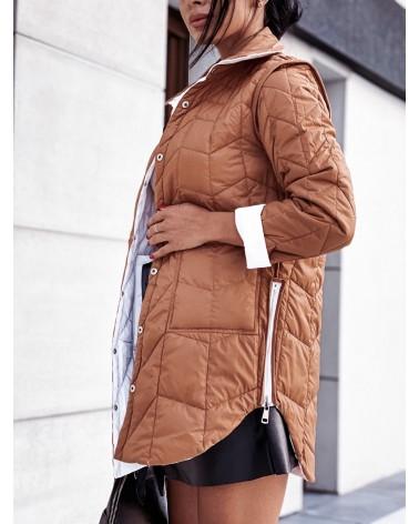 Pikowana kurtka dwustronna biało karmelowa