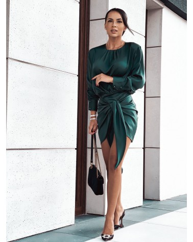 Elegancka sukienka satynowa z długim rękawem butelkowa zieleń