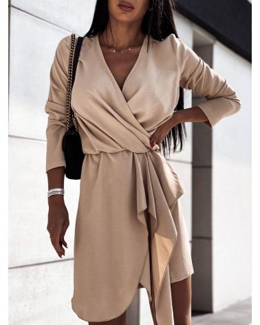 Zwiewna sukienka z długim rękawem beżowa