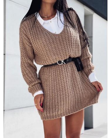 Pleciony sweter z dekoltem w serek brązowy