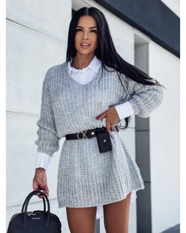 Pleciony sweter z dekoltem w serek szary