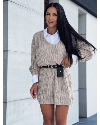 Pleciony sweter z dekoltem w serek beżowy