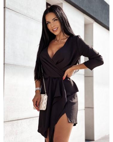 Zwiewna sukienka z długim rękawem czarna